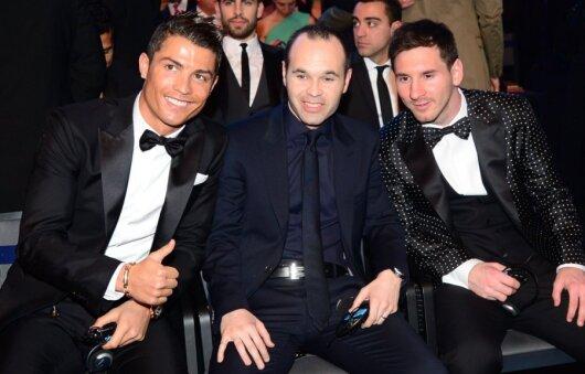 Cristiano Ronaldo, Andresas Iniesta ir Lionelis Messi